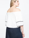 Tiered Sleeve Off the Shoulder Top White