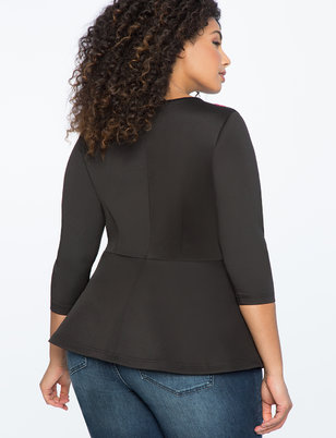 Embroidered Bodice Peplum Top