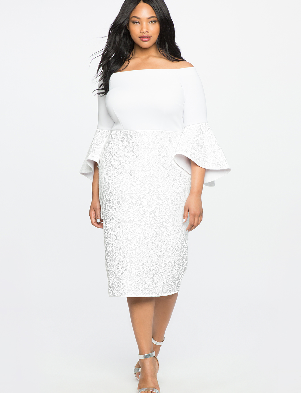 Lace Ruffle Sleeve Off the Shoulder Dress