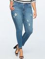 Peach Lift Distressed Skinny Jean Medium Wash
