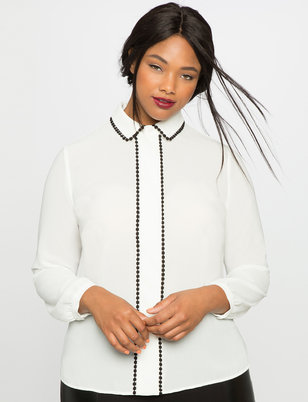 Circle Lace Trim Button Down