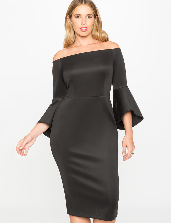 Studio Off The Shoulder Flare Sleeve Dress Womens Plus Size