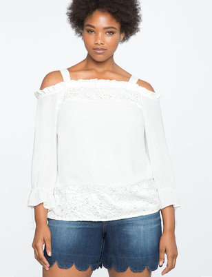 Lace Paneled Off the Shoulder Top