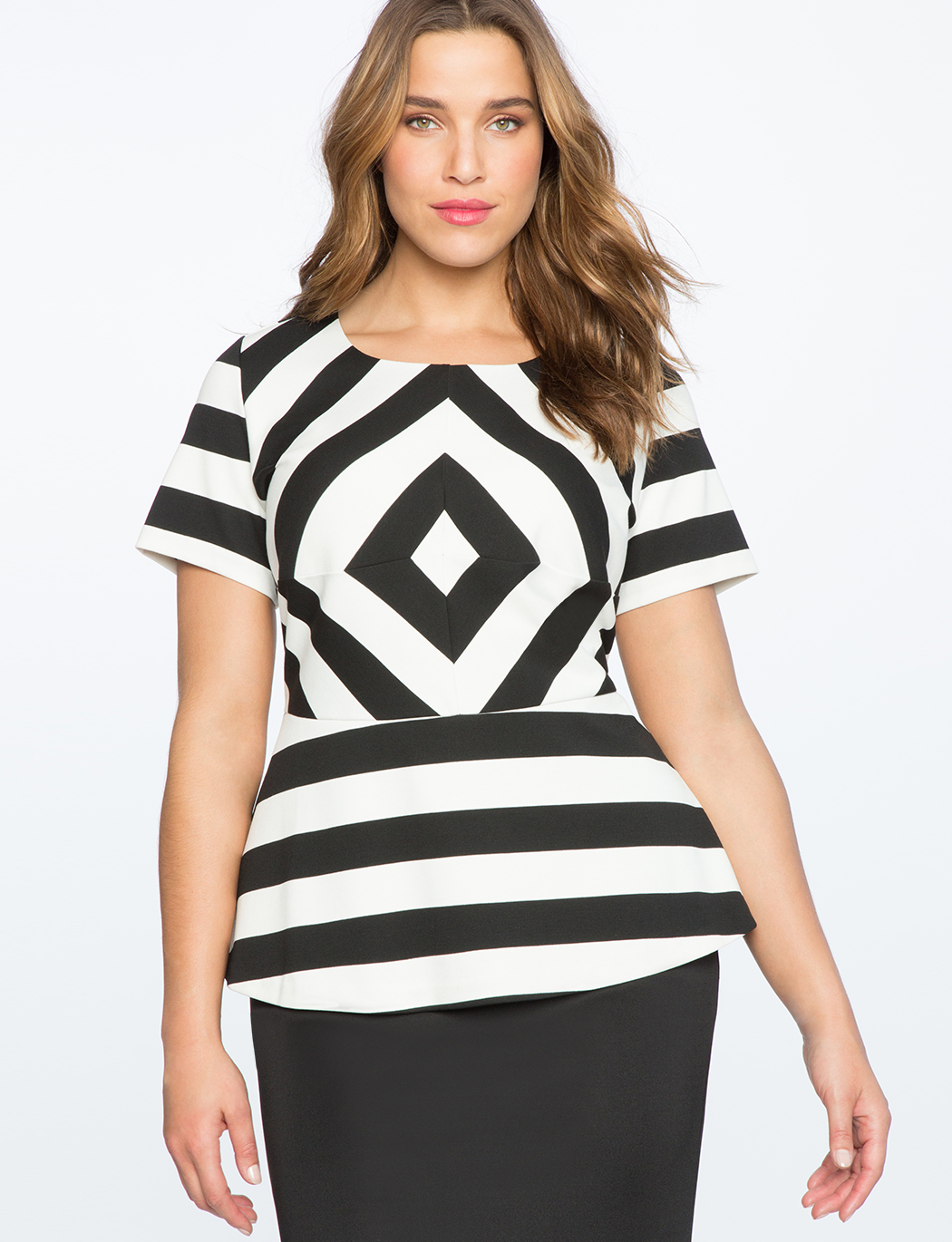 a6508de13a1ea8 Illusion Stripe Peplum Top | Women's Plus Size Tops | ELOQUII