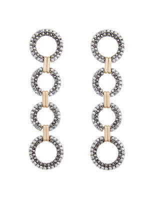 Mixed Metal Circle Drop Earrings