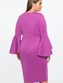 Flare Sleeve Scuba Dress Deep Lilac