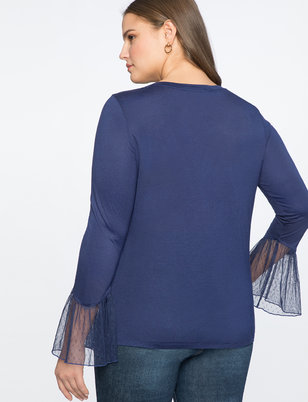 Point D'esprit Ruffled Cuff Tee