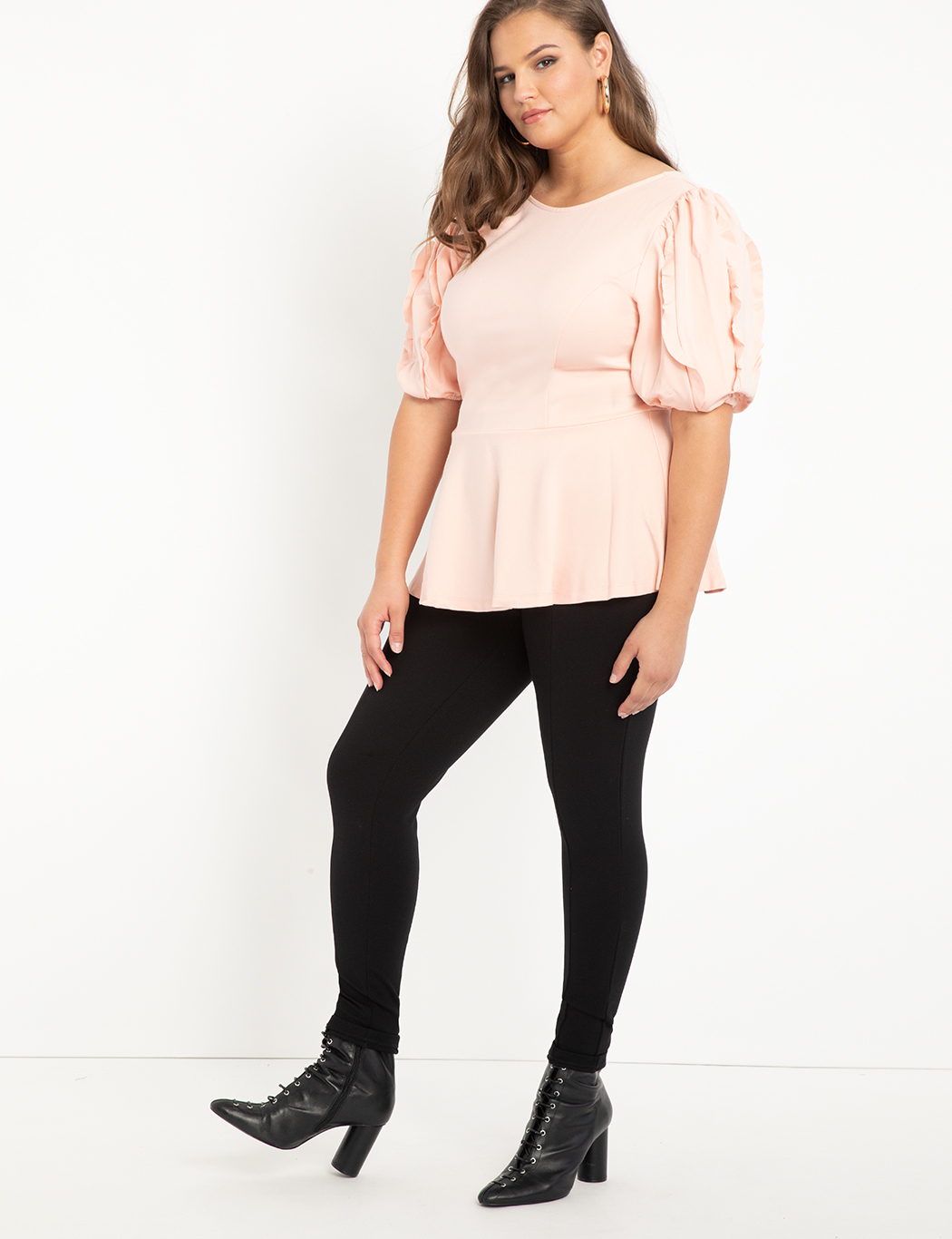 Ruffle Sleeve Peplum Top