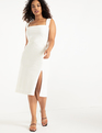 Sleeveless Dress With Slit True White