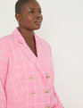 Windowpane Double Breasted Blazer Pink + White Windowpane
