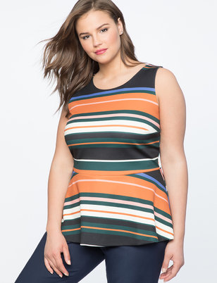 Sleeveless Striped Peplum Top