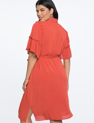 Flare Sleeve Shirtdress with Belt