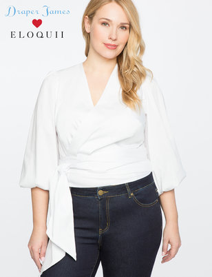 Draper James for ELOQUII 3/4 Sleeve Wrap Top