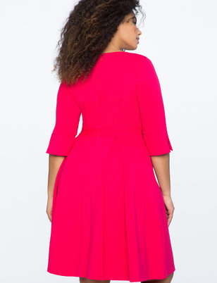 Pleated Pintuck Fit and Flare Dress