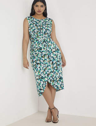 Printed Draped Front Midi Dress