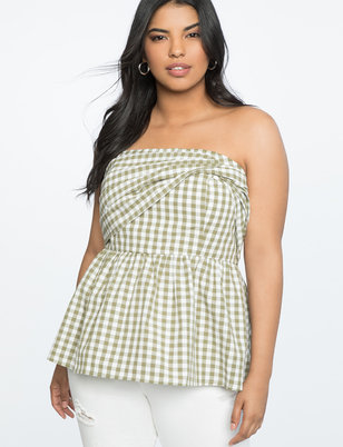 Sleeveless Gingham Peplum Top