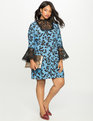 Printed Dress with Lace Detail Ladybug Pattern