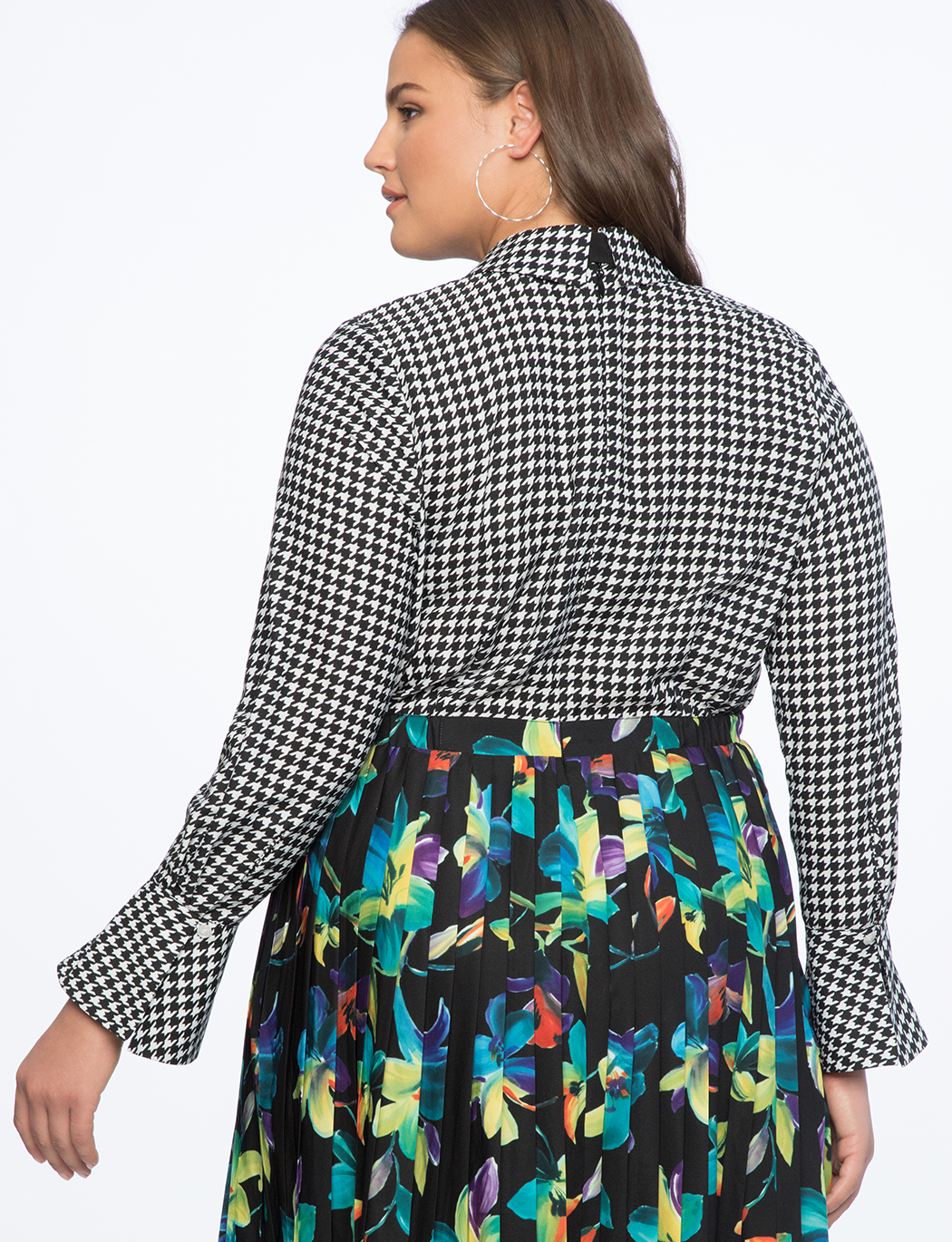 Printed Shirtdress with Pleated Skirt