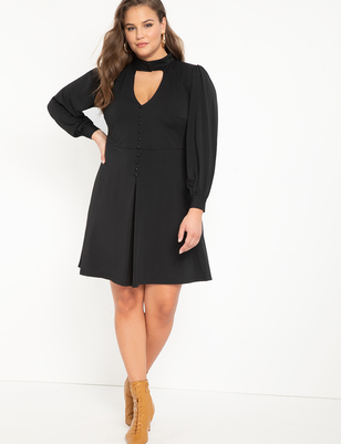 Cutout Neckline Fit And Flare Dress