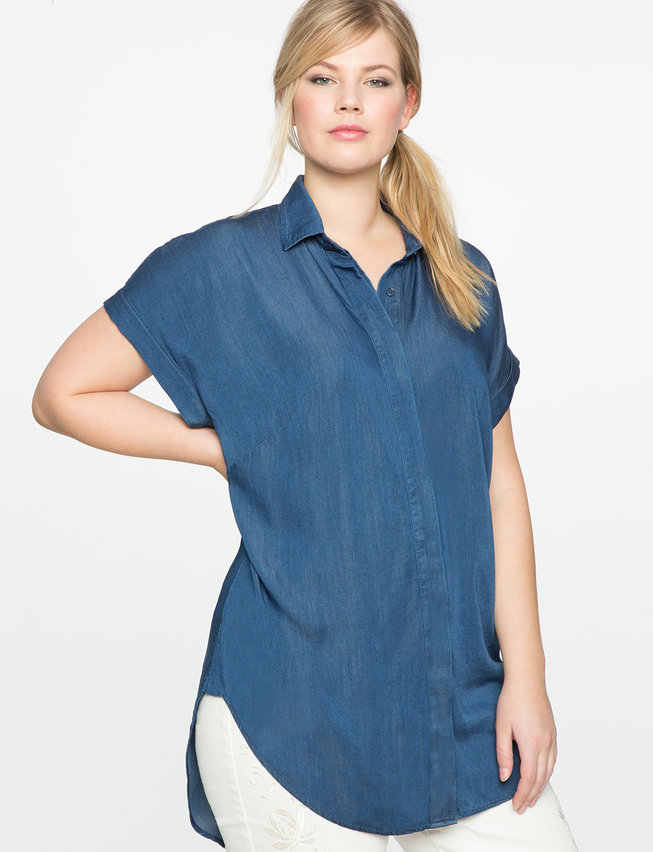 Chambray Popover Blouse