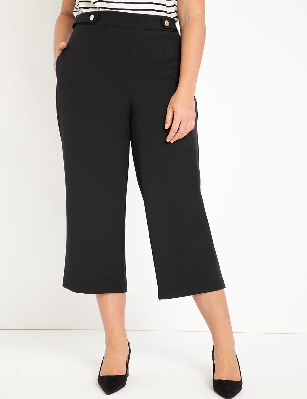 Button Tab Wide Leg Cropped Pant