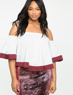 Color Blocked Off the Shoulder Top