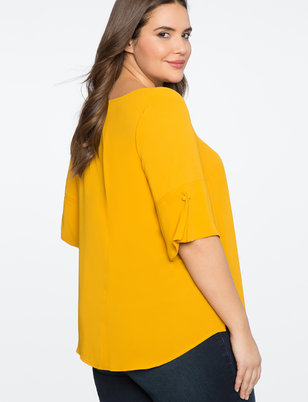V-Neck Top with Sleeve Button Detail