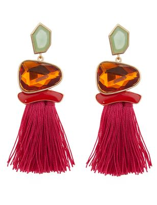 Jeweled Tassel Statement Earrings