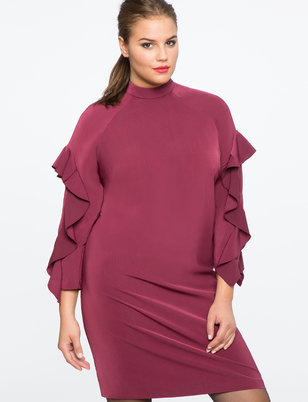 Ruffle Sleeve Mock Neck Dress