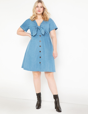 Chambray Tie Front Dress