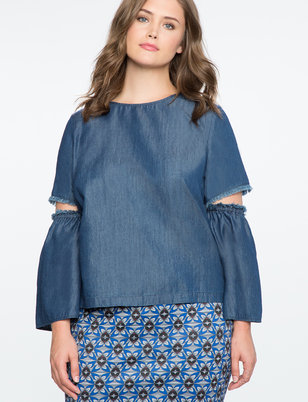 Cut Out Detail Chambray Top