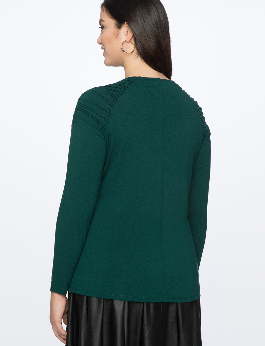 Gathered Shoulder Long Sleeve Tee