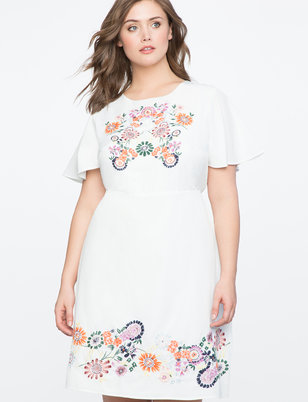 Embroidered Flutter Sleeve Dress