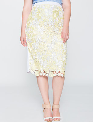 Two-Tone Lace Pencil Skirt