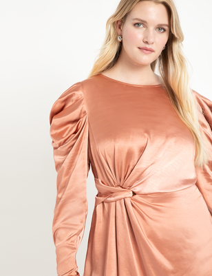 Knot Front Satin Dress