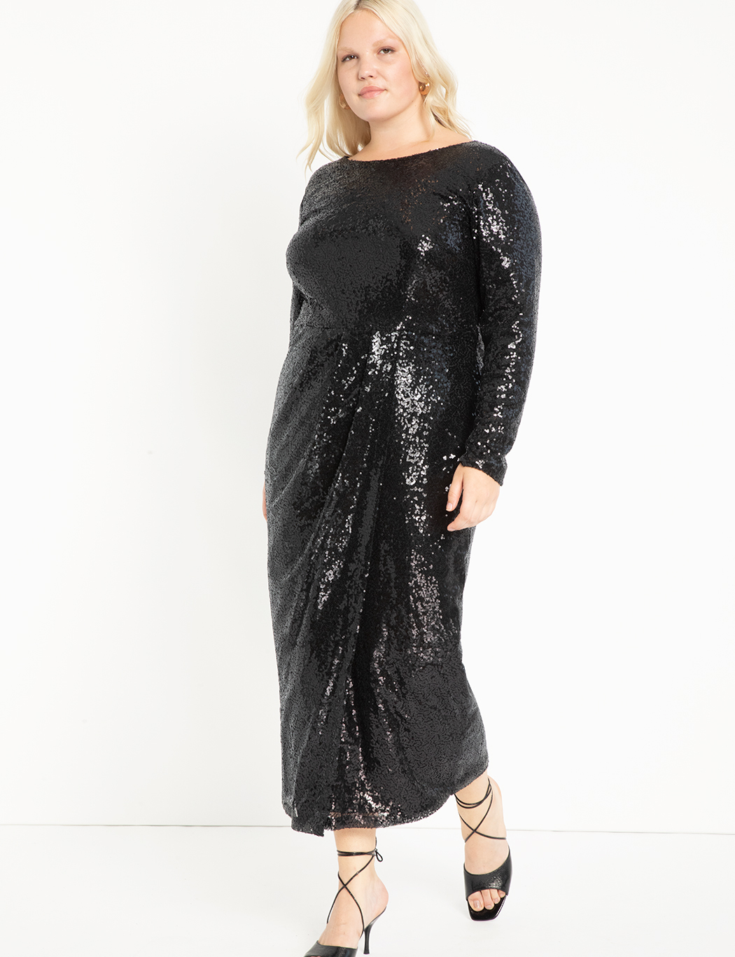 4f121a01 Sequin Maxi Dress with Wrap Skirt | Women's Plus Size Dresses ...