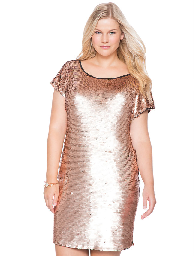Studio Sequin Shift Dress Womens Plus Size Dresses Eloquii