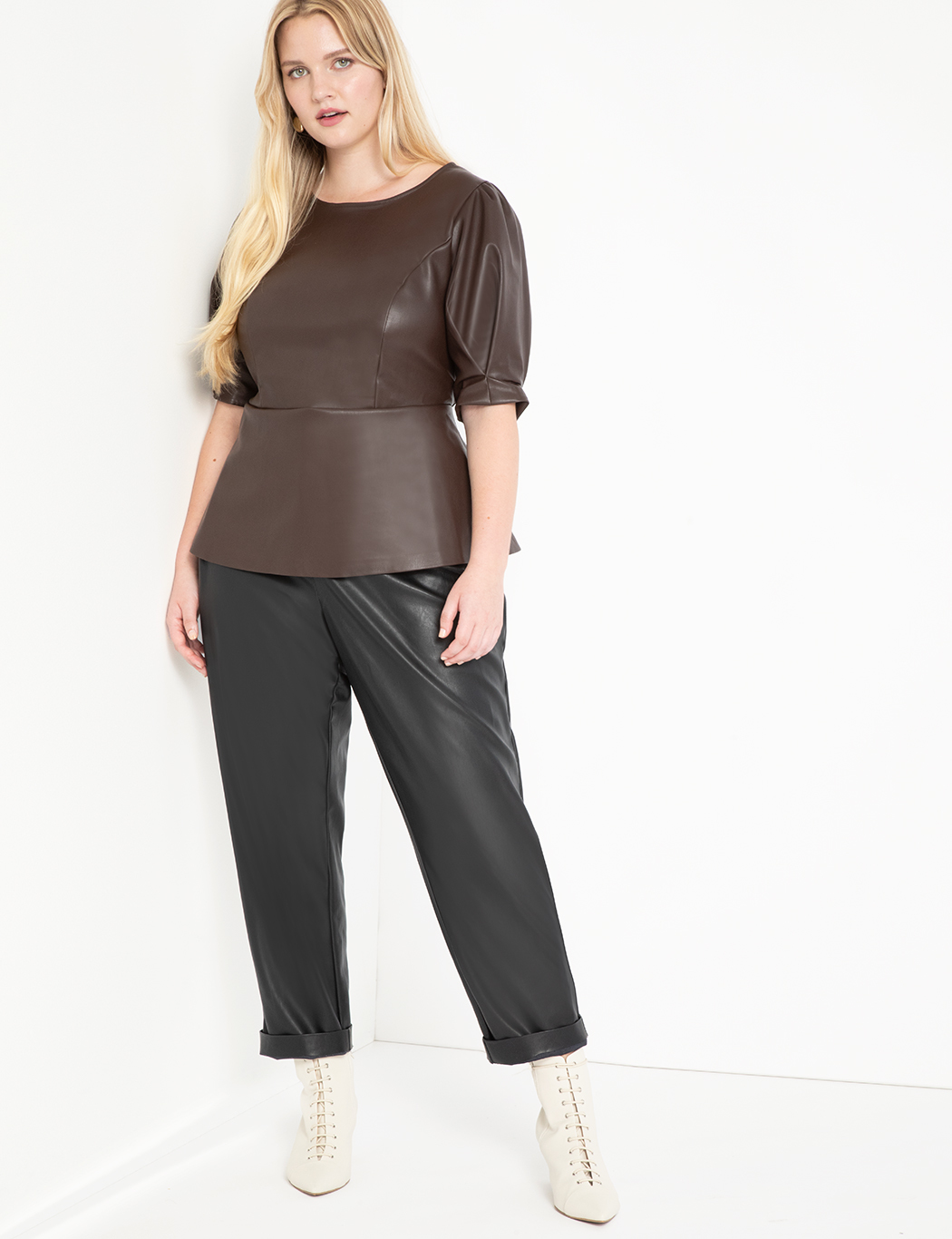 Faux Leather Puff Sleeve Peplum Top