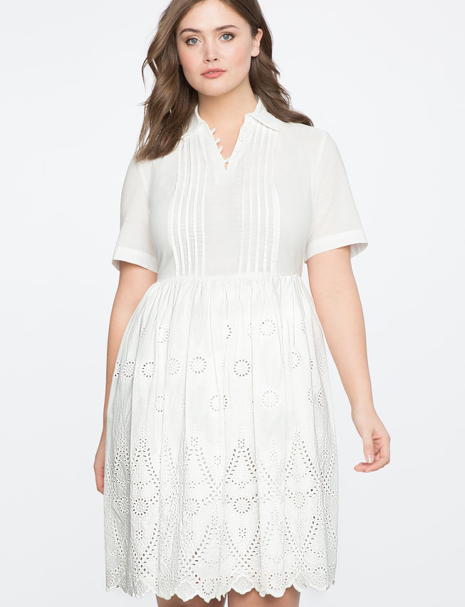 Eyelet Fit and Flare Dress | Women\'s Plus Size Dresses | ELOQUII