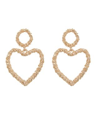Textured Heart Drop Earrings