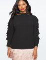 Cutout Floating Collar Top TOTALLY BLACK