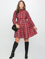 Printed Fit and Flare Dress with Waist Tie Distressed Houndstooth