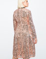 Flare Sleeve Sequin Dress with Velvet Tie SHINY ROSE GOLD