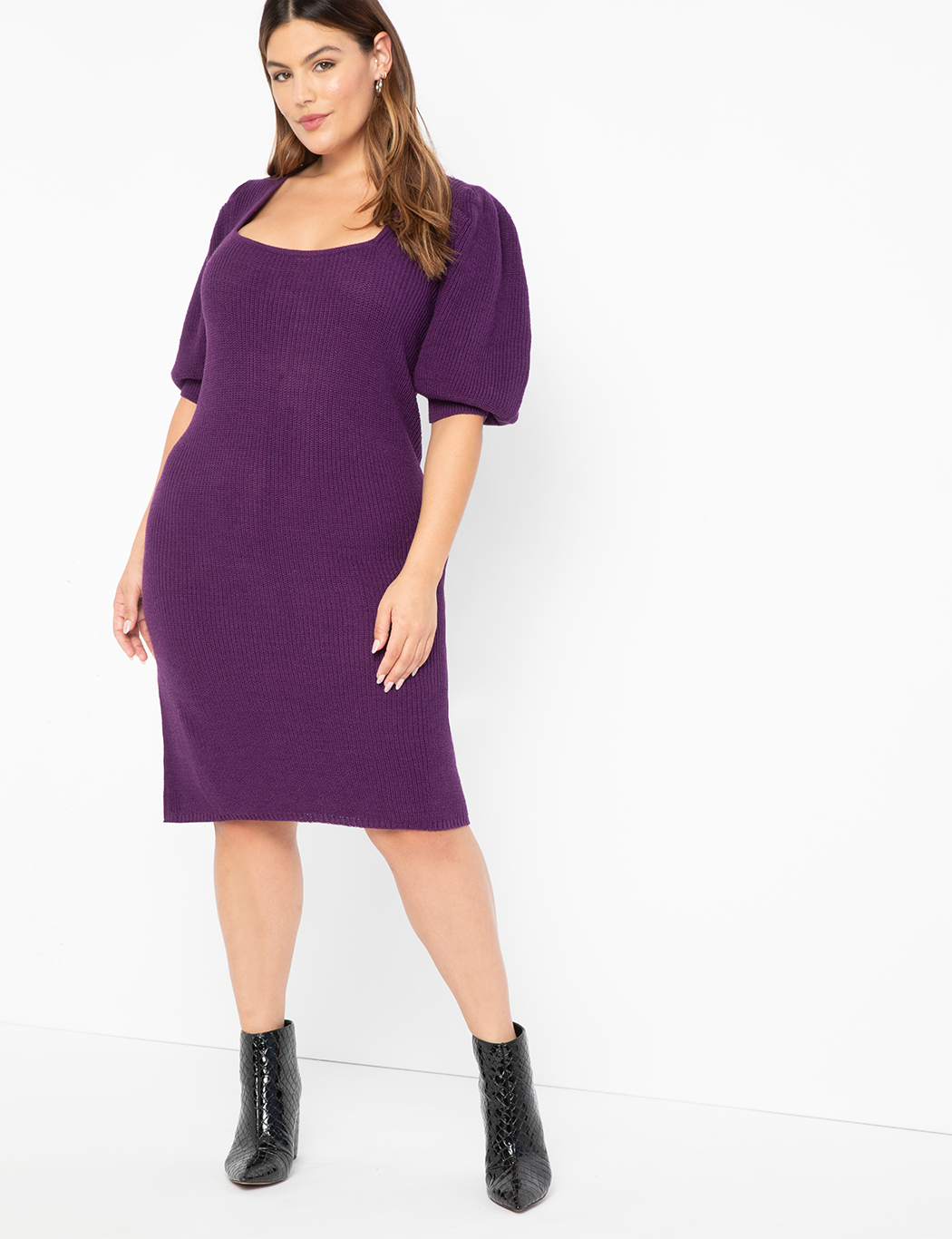 ELOQUII Elements Square Neck Sweater Midi Dress Purple