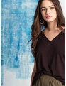 Essential V Neck Tunic Tee Totally Black