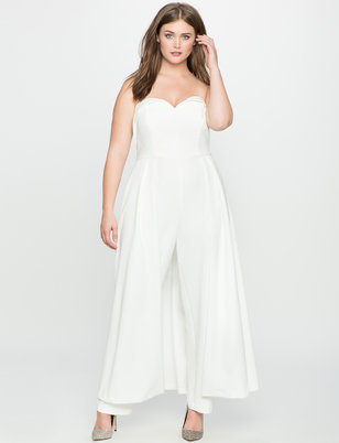 Sweetheart Neckline Jumpsuit with Skirt