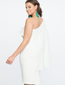 One Shoulder Dress with Flutter Detail SOFT WHITE