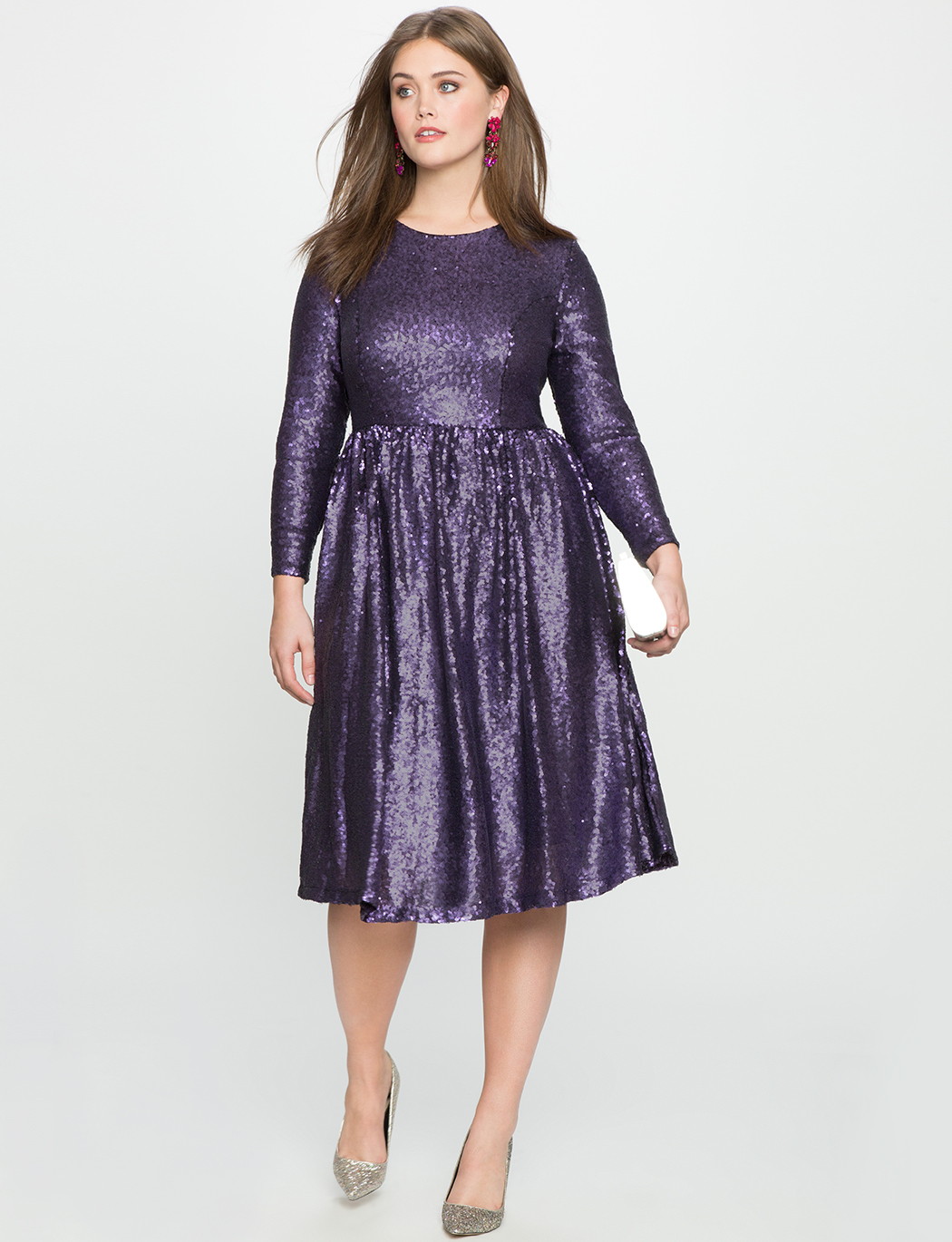 f0110287363 Studio Sequin Fit and Flare Dress