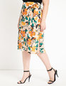 Buckle Detail Midi Skirt Tropical Popical
