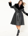Faux Leather Fit and Flare Coat with Fur Collar Totally Black